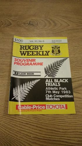 Probables v Possibles All Black Trials 1983 Rugby Programme