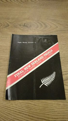 Probables v Possibles Final New Zealand Trials 1963 Rugby Programme