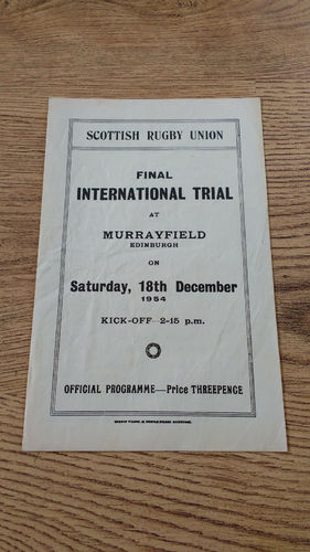 Scotland v The Rest 1954 Final Trial Rugby Programme