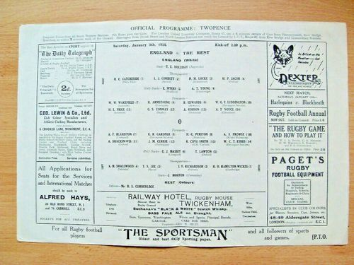 England v The Rest 1924 Rugby Programme