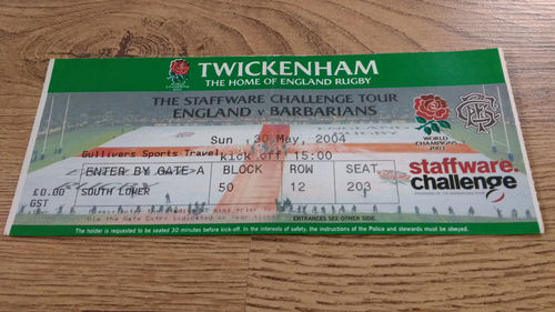 England v Barbarians 2004 Rugby Ticket