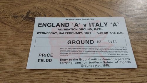 England A v Italy A 1993 Rugby Ticket