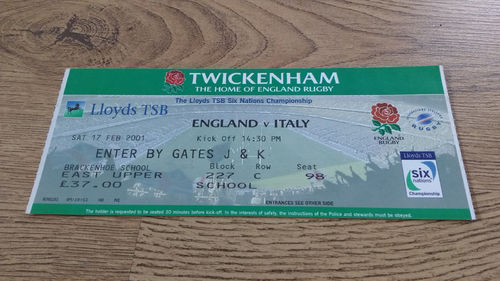 England v Italy 2001 Rugby Ticket