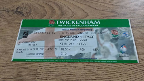 England v Italy 2003 Rugby Ticket