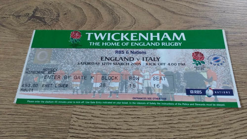 England v Italy 2005 Rugby Ticket