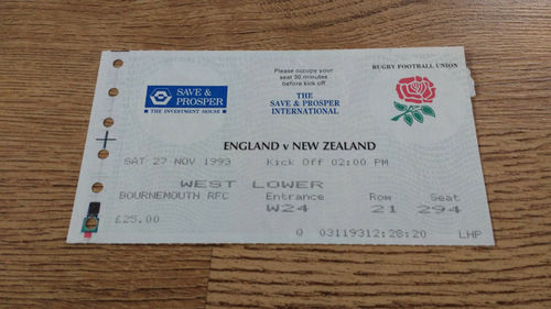 England v New Zealand 1993 Rugby Ticket
