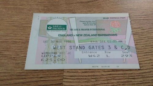 England v New Zealand Barbarians 1996 Rugby Ticket