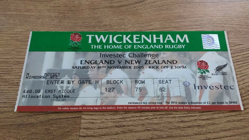 England v New Zealand 2005 Rugby Ticket