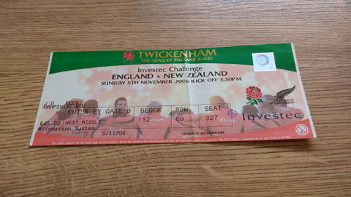 England v New Zealand 2006 Rugby Ticket