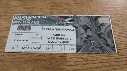 England v New Zealand 2012 Rugby Ticket