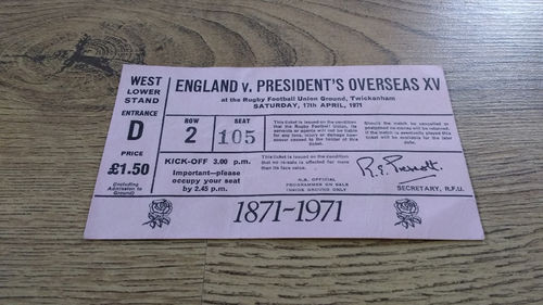 England v President's Overseas XV 1971 Rugby Ticket