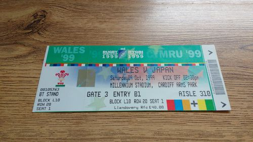 Wales v Japan 1999 Rugby World Cup Ticket