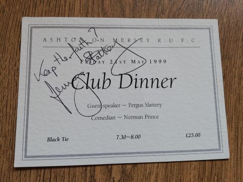 Ashton-on-Mersey Rugby Club 1999 Signed Annual Dinner Menu Invitation Card