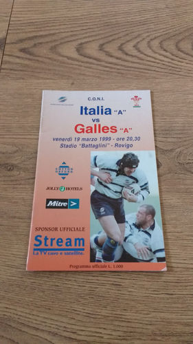 Italy A v Wales A Mar 1999 Rugby Programme