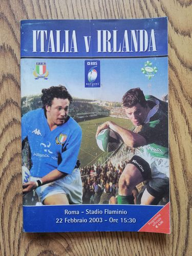 Italy v Ireland 2003 Rugby Programme