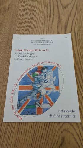 Italy U19 v England Colts 1994 Rugby Programme