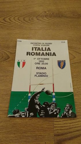 Italy v Romania 1992 Rugby Programme