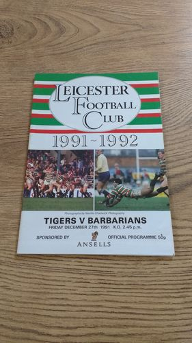 Leicester v Barbarians Dec 1991 Rugby Programme