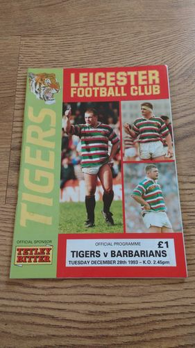 Leicester v Barbarians Dec 1993 Rugby Programme