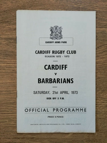Cardiff v Barbarians Apr 1973 Rugby Programme