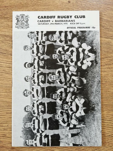 Cardiff v Barbarians Mar 1975 Rugby Programme
