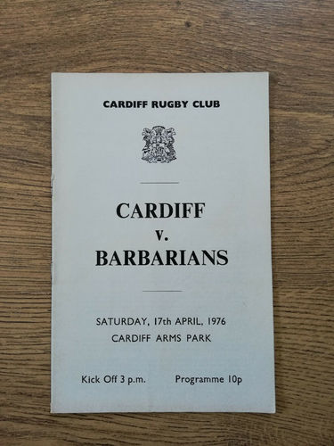 Cardiff v Barbarians Apr 1976 Rugby Programme