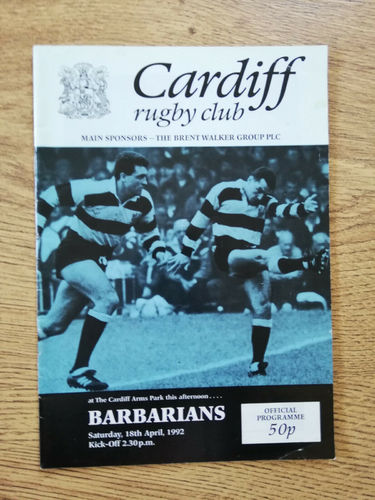 Cardiff v Barbarians Apr 1992 Rugby Programme