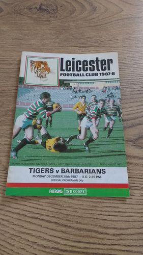 Leicester v Barbarians Dec 1987 Rugby Programme