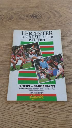 Leicester v Barbarians Dec 1988 Rugby Programme