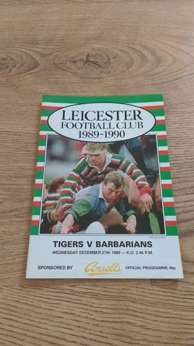 Leicester v Barbarians Dec 1989 Rugby Programme