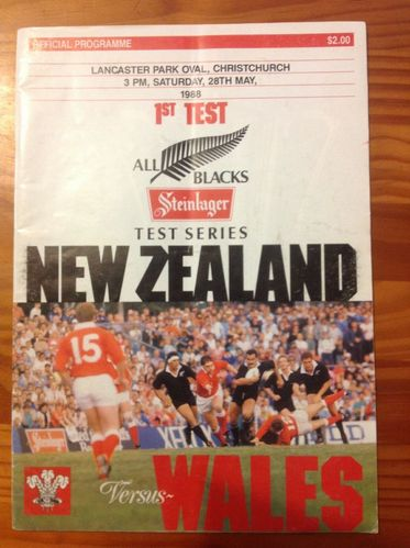 New Zealand v Wales 1st Test 1988 Rugby Programme