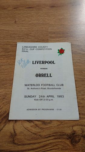 Liverpool v Orrell Apr 1983 Lancashire Cup Final Programme