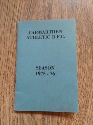 Carmarthen Athletic Rugby Club 1975-76 Membership & Fixture Book