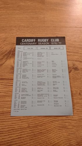 Cardiff Rugby Club 1976-77 Centenary Fixture List