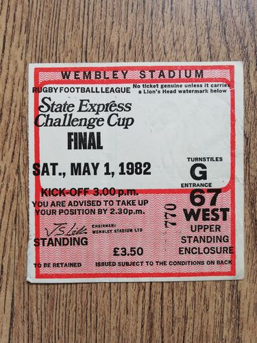 Hull v Widnes 1982 Challenge Cup Final RL Ticket