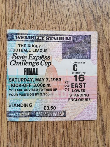 Featherstone v Hull 1983 Challenge Cup Final Rugby League Ticket