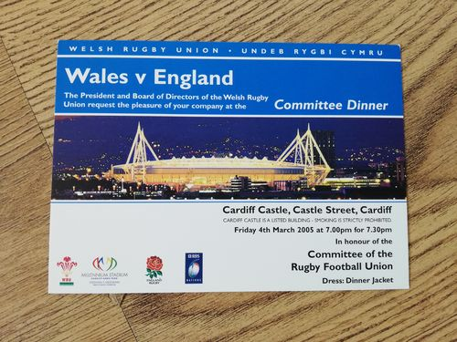 Wales v England 2005 Rugby Committee Dinner Invitation Card