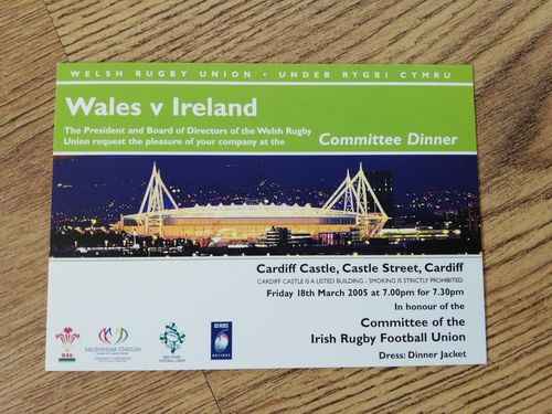 Wales v Ireland 2005 Rugby Committee Dinner Invitation