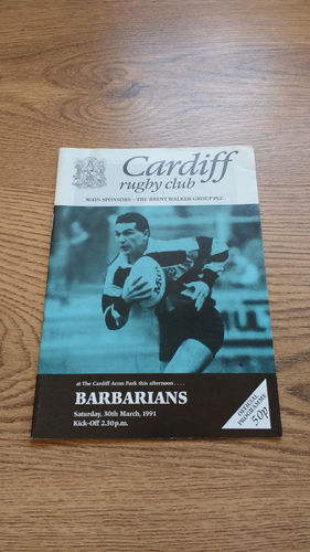 Cardiff v Barbarians 1991 Rugby Programme