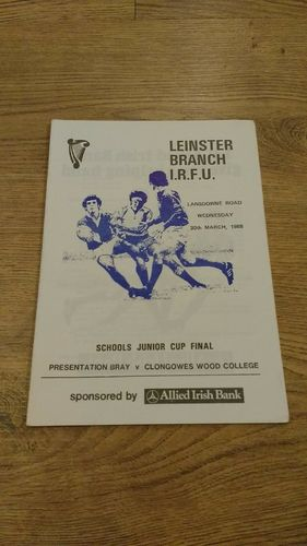 Presentation Bray v Clongowes Wood College 1988 Cup Final Rugby Programme