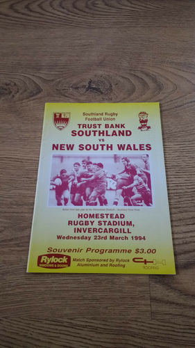 Southland v New South Wales 1994 Rugby Programme