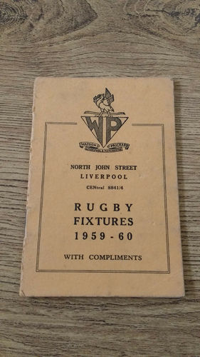 Merseyside Clubs Rugby Fixture Card 1959-60