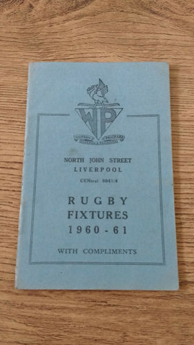 Merseyside Clubs Rugby Fixture Card 1960-61
