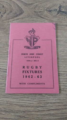 Merseyside Clubs Rugby Fixture Card 1962-63