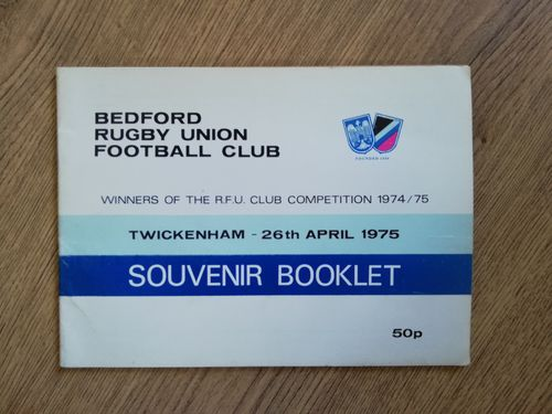 Bedford 1975 RFU Club Competition Winners Souvenir Rugby Booklet