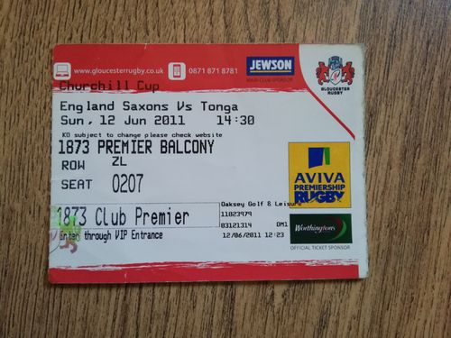 England Saxons v Tonga 2011 Rugby Ticket