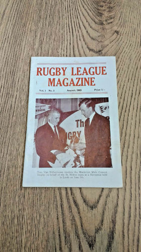 'Rugby League Magazine' Vol 1 No 3 : August 1963