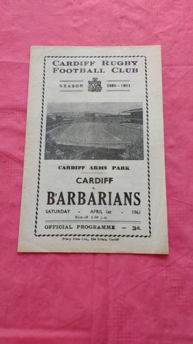 Cardiff v Barbarians 1961 Rugby Programme