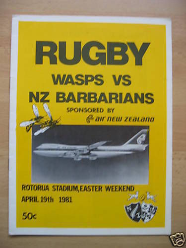 Wasps (NZ) v NZ Barbarians 1981 Rugby Programme