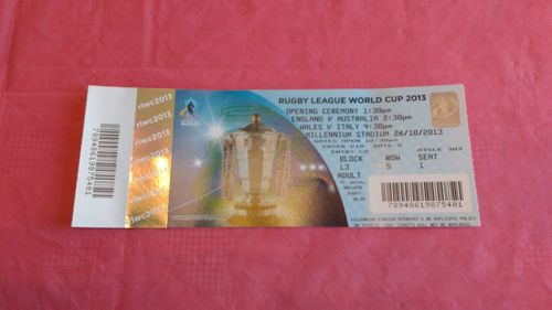Australia v England \ Wales v Italy 2013 Rugby League World Cup Ticket